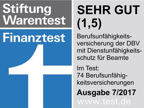 die Dienstunfähigkeitsversicherung der DBV punktet bei Stiftung Warentest / Finanztest